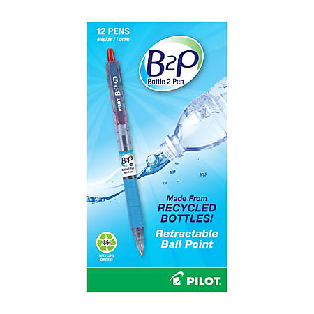 "Pilot® B2P ""Bottle To Pen"" Retractable Ballpoint Pens, Medium Point, 1.0 mm, 86% Recycled, Translucent Blue Barrels, Red Ink, Pack Of 12"