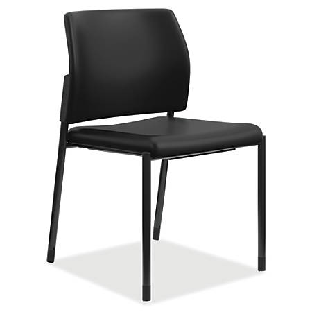 HON® Accommodate Guest Chair, Armless, Vinyl Seat, Black, Set Of 2