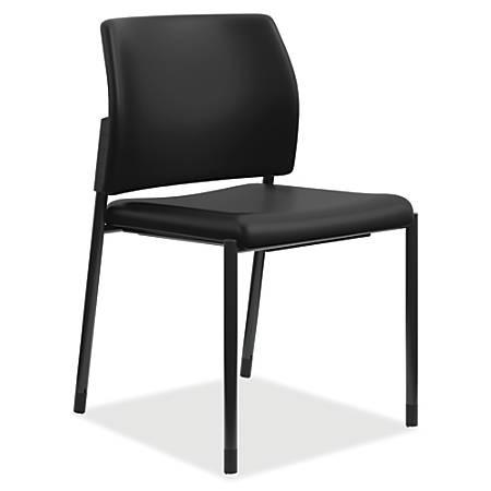 HON® Accommodate Guest Chair, Armless, Vinyl Seat, Polyurethane Back, Black, Set Of 2