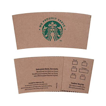 "Starbucks ""We Proudly Serve Starbucks"" Hot Cup Sleeves, Kraft Paper, Brown, Pack Of 1,380"