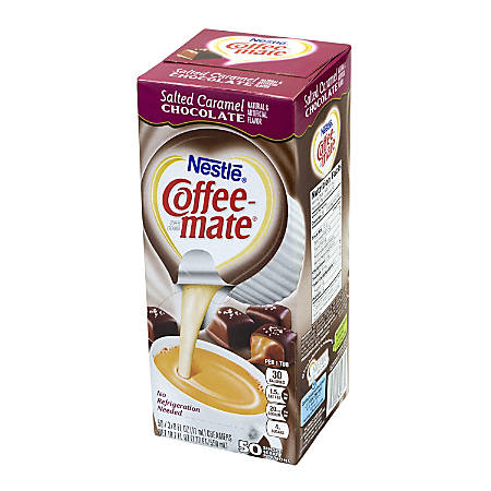 Coffee-Mate Liquid Creamer Singles, Salted Caramel Chocolate, 50 Packs Per Carton, Case Of 4 Cartons