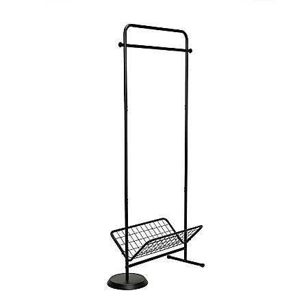 "Honey Can Do Swivel Coat Rack Valet With Basket, 61-1/2""H x 29""W x 3-1/2""D, Black"