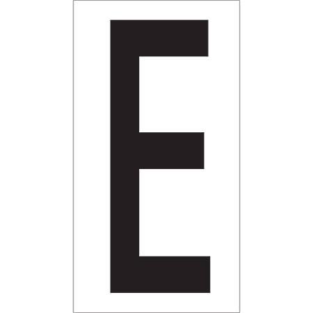 """Office Depot® Brand Vinyl Warehouse Labels, DL9310E, Letter E, 3 1/2"""", Black/White, Case Of 50"""