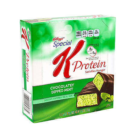 Special K Protein Meal Bars, Chocolaty Dipped Mint, 1.59 Oz, 8 Bars Per Pack, Case Of 2 Packs