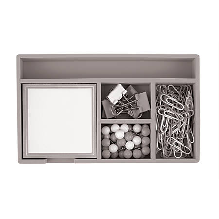 "Office Depot® Brand Desk Set, 7"" x 4"", Gray"
