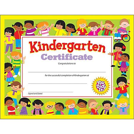 """Trend Kindergarten Certificates - 8.50"""" x 11"""" - Multicolor30 / Pack"""