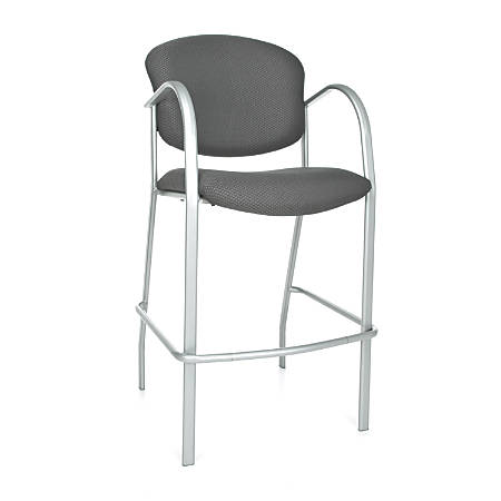 OFM Danbelle Series Café-Height Chair, Graphite/Silver, Set Of 2
