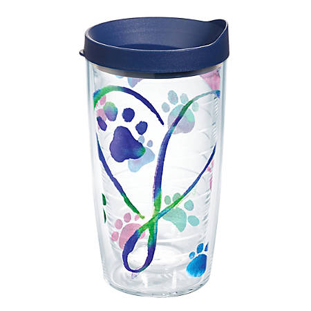 Tervis Project Paws Tumbler With Lid, Dog Paws Script Heart, 16 Oz, Clear/Navy