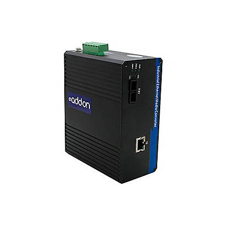 AddOn 1 10/100/1000Base-TX(RJ-45) to 1 1000Base-LX(FC) SMF 1310nm 20km Industrial Media Converter