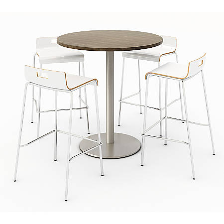 KFI Studios Round Bistro Pedestal Table With 4 Stacking Bar Stools, Studio Teak/Natural