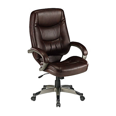 Lorell® Westlake Bonded Leather High-Back Chair, Saddle/Champagne