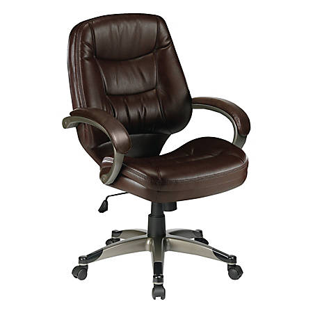 Lorell® Westlake Series Managerial Mid-Back Leather Chair, Saddle/Champagne