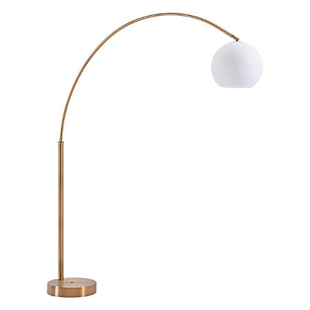 """Zuo Modern Griffith Floor Lamp, 75 3/16""""H, Brushed Brass Shade/Brushed Brass Base"""