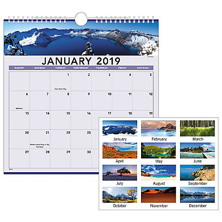 """AT-A-GLANCE® Landscape Monthly Wall Calendar, 12"""" x 12"""", January to December 2019"""