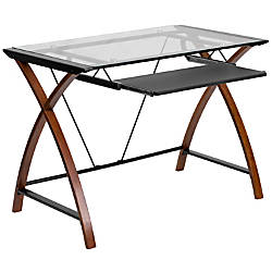 Flash Furniture Glass puter Desk With Pull Out Keyboard Tray