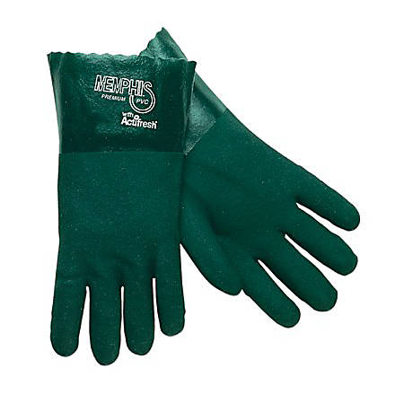 Memphis Glove Premium Double-Dipped PVC Gloves, Men's, Green, Pack of 12 Pairs