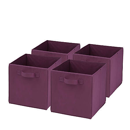 """Honey-Can-Do Non-Woven Foldable Cubes, 11 1/2""""H x 10 5/8""""W x 10 5/8""""D, Purple, Pack Of 4"""