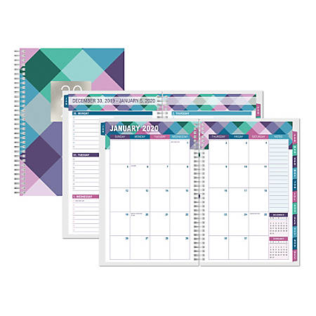 """Office Depot® Brand Weekly/Monthly Planner, 5-1/2"""" x 8"""", Buffalo Check, January to December 2020"""