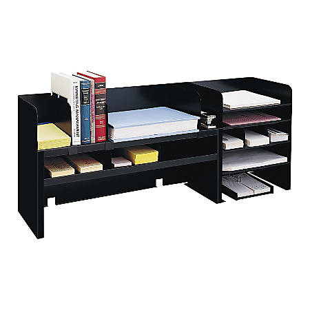 "MMF Industries Raised Shelf Desk Organizer With Dividers, 18 3/8"" x 47 1/4"" x 9 1/2"", Black"
