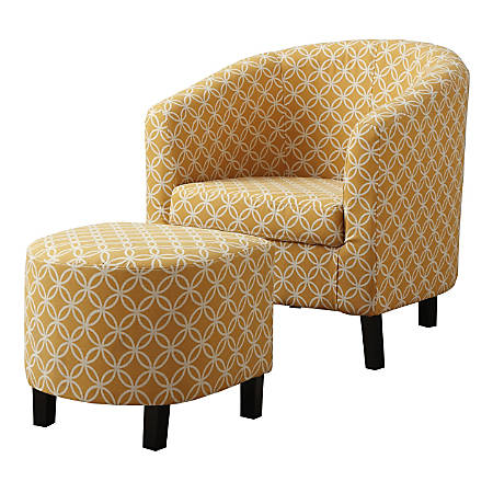 Monarch Specialties Abba Accent Chair With Ottoman, Burnt Yellow