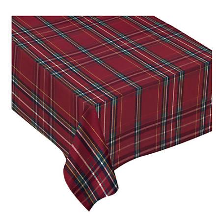 "Amscan Christmas Plaid Fabric Table Cover, 60"" x 84"", Red Plaid"