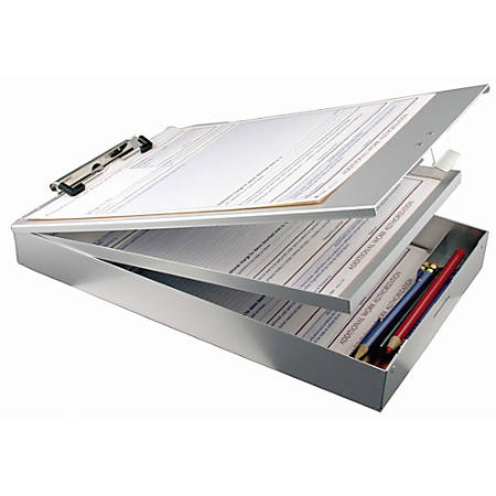 Office Depot® Brand Dual Form Holder Storage Clipboard, Letter Size, Silver
