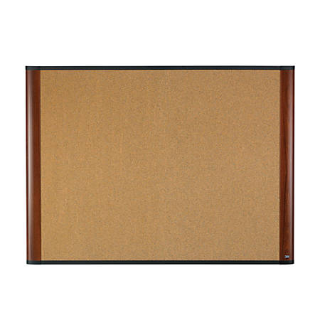 "3M™ Cork Board With Widescreen-Style Aluminum Frame, Mahogany Finish, 48"" x 36"""