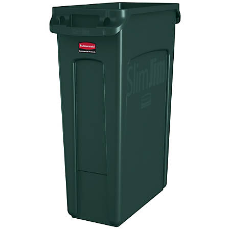 Rubbermaid® Slim Jim Rectangular Polyethylene Vented Waste Receptacle, 23 Gallons, Green