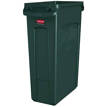 Rubbermaid® Slim Jim Rectangular Polyethylene Vented Waste Receptacle, 23 Gallons, Green