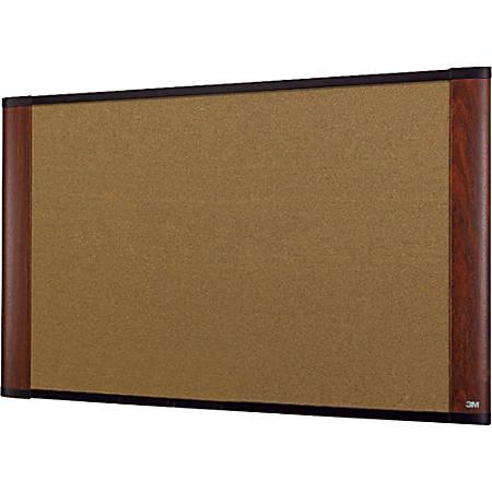"3M™ Cork Board With Widescreen-Style Aluminum Frame, Mahogany Finish, 72"" x 48"""