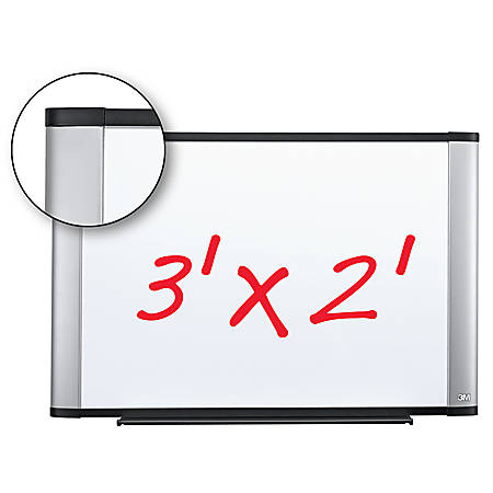 """3M™ Melamine Dry-Erase Board With Widescreen-Style Aluminum Frame, 24"""" x 36"""""""