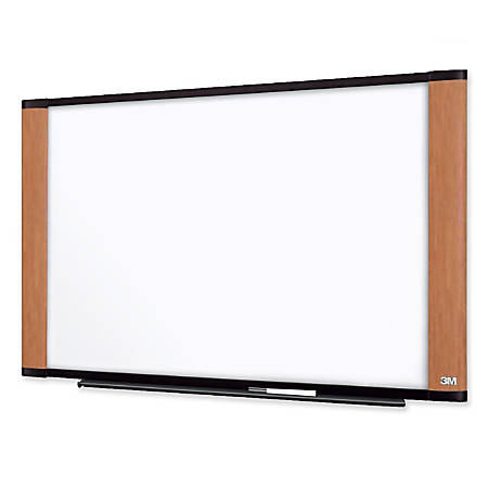 """3M™ Melamine Dry-Erase Board With Widescreen-Style Aluminum Frame, Light Cherry Finish, 36"""" x 48"""""""