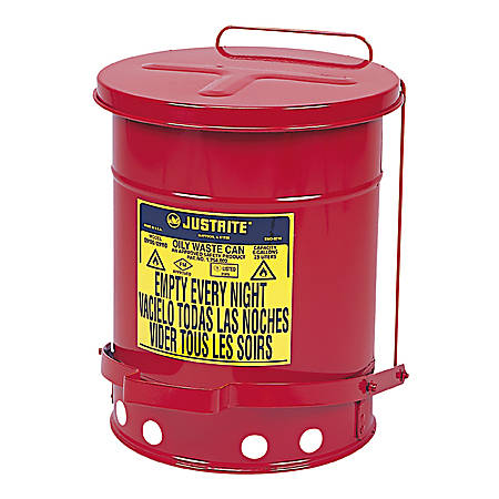 JUSTRITE Oily Waste Can, 6 gal., Red