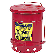Red Oily Waste Cans Foot Operated