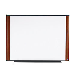 "3M™ Melamine Dry-Erase Board With Widescreen-Style Aluminum Frame, Mahogany Finish, 36"" x 48"""