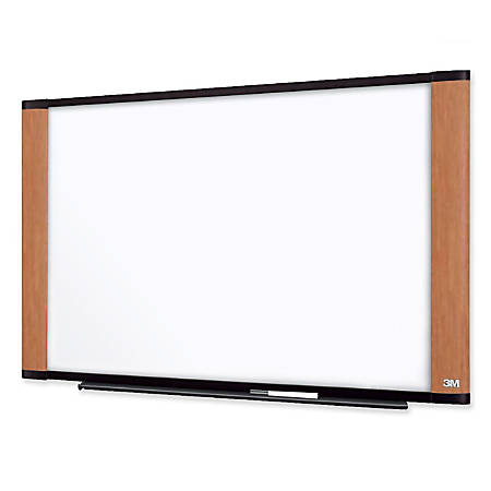 "3M™ Melamine Dry-Erase Board With Widescreen-Style Aluminum Frame, Light Cherry Finish, 48"" x 72"""