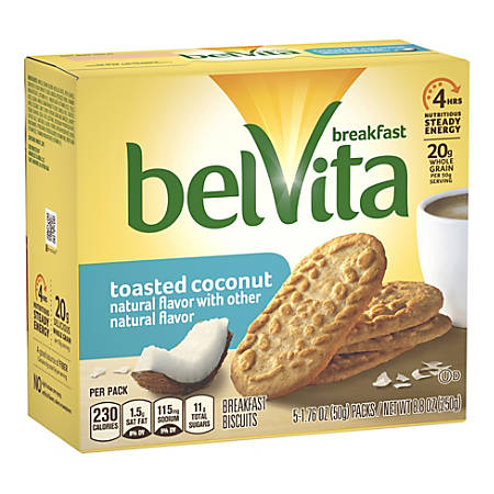 BELVITA Breakfast Biscuits Toasted Coconut, 5 Count, 6 Pack