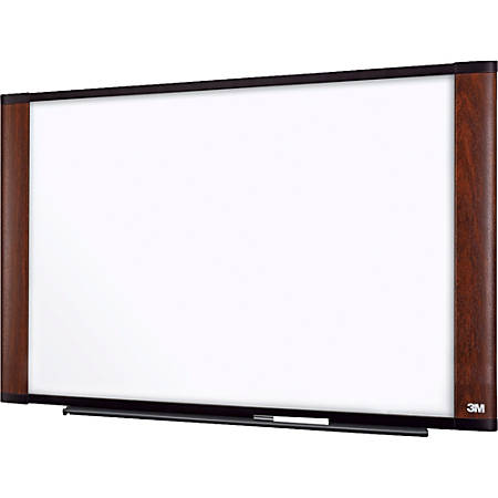 "3M™ Melamine Dry-Erase Board With Widescreen-Style Aluminum Frame, Mahogany Finish, 48"" x 96"""
