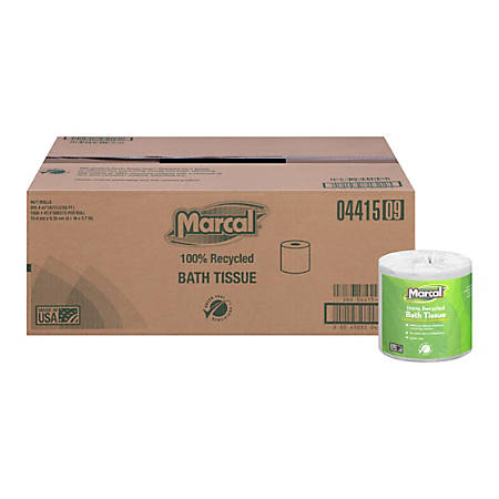 Marcal® Small Steps Bathroom Tissue, 1 Ply, 100% Recycled, 1,000 Sheets Per Roll, Case Of 40 Rolls