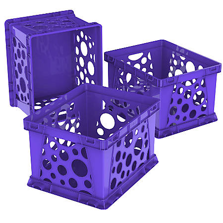 "Storex Large File Crates, 17-1/4"" x 14-1/4"" x 10-1/2"", Classroom Purple, Pack Of 3 Crates"