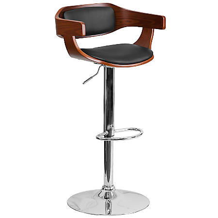 Flash Furniture Bentwood Adjustable Bar Stool With Wrap Arms, Walnut/Black