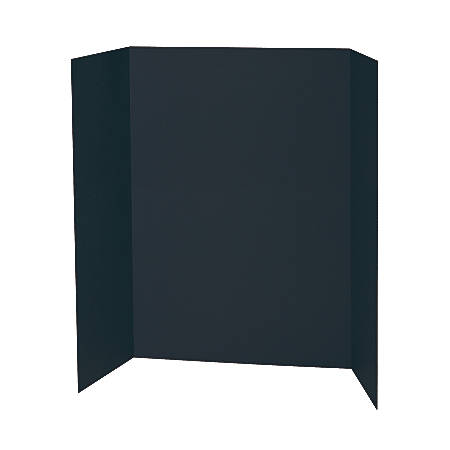 """Pacon® 80% Recycled Single-Walled Tri-Fold Presentation Boards, 48"""" x 36"""", Black, Carton Of 24"""