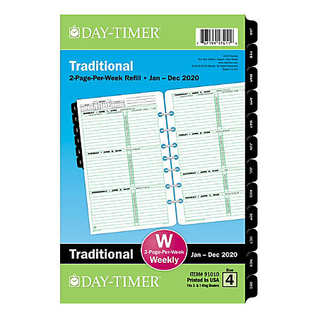 """Day-Timer® Classic Weekly Refill, Desk Size, 5-1/2"""" x 8-1/2"""", January To December 2020, 910102001"""