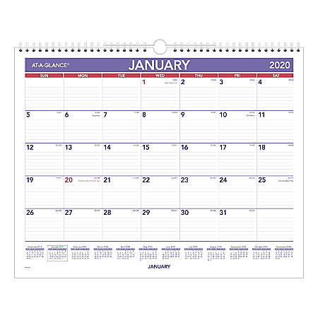 "AT-A-GLANCE® Monthly Wall Calendar, 15"" x 12"", Blue/Red, January To December 2020, PM828"