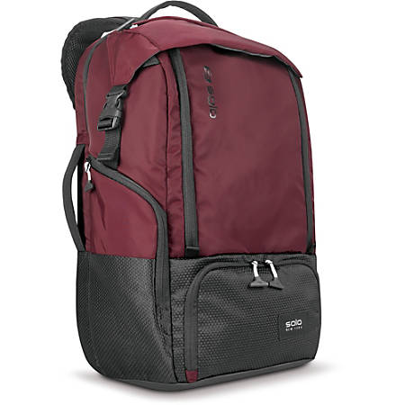 """Solo Varsity Carrying Case (Backpack) for 17.3"""" Notebook - Burgundy - Bump Resistant Interior, Scratch Resistant Interior - Nylon - Shoulder Strap - 21"""" Height x 13.5"""" Width x 7"""" Depth"""
