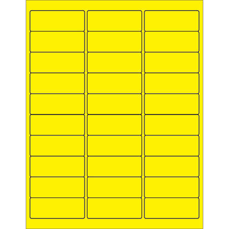 """Office Depot® Brand Labels, LL173YE, Rectangle, 2 5/8"""" x 1"""", Fluorescent Yellow, Case Of 3,000"""