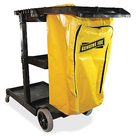"Genuine Joe Workhorse Janitor's Cart - 40"" Width x 20.5"" Depth x 38"" Height - Charcoal, Yellow"