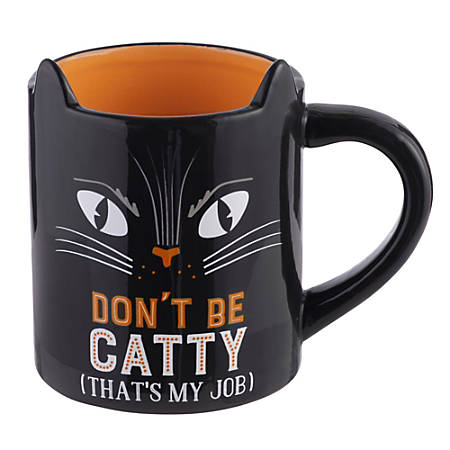 Amscan Don't Be Catty Cat Mugs, 20 Oz, Black, Pack Of 2