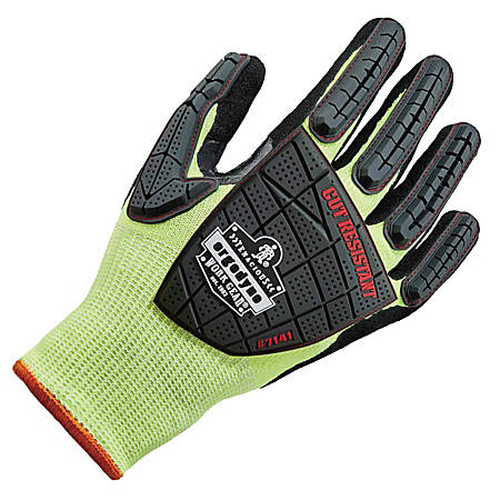 Ergodyne ProFlex 7141 Hi-Vis Nitrile-Coated DIR Level 4 Cut-Resistant Gloves, Small, Lime