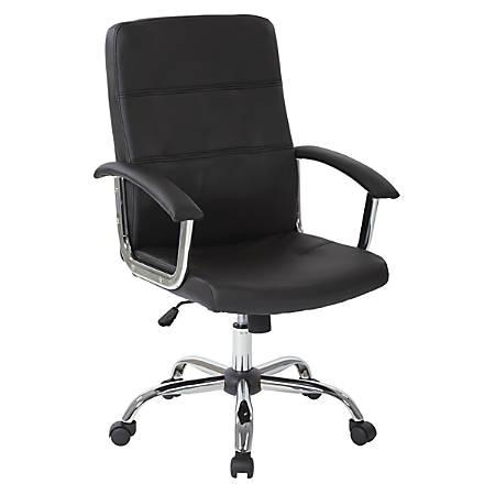 Office Star™ Avenue Six® Malta Vinyl Mid-Back Chair, Black/Silver